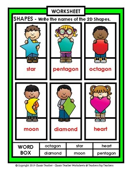 Shapes - Write Names of the Shapes - Kindergarten to Grade 2 (2nd Grade) - Easy