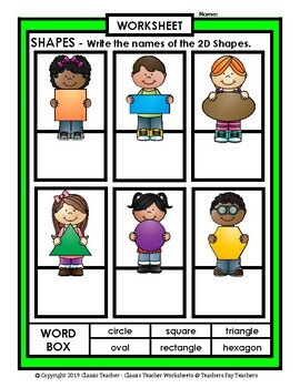 Shapes - Write Names of the Shapes - Grades 1-2 (1st-2nd Grade) - Easy