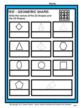 2D Shapes & 3D Shapes - Write Names of Shapes - Grades 3-6 (3rd-6th Grade)