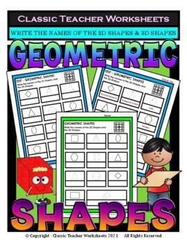 2D Shapes & 3D Shapes - Write Names of Shapes - Grades 3-4 (3rd-4th Grade)