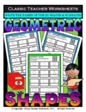 2D Shapes & 3D Shapes - Write Names of Shapes - Grades 3-4 (3rd-4th Grade)
