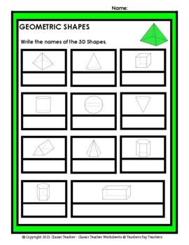3D Shapes - Write the Names of the 3D Shapes - Grades 3-6 (3rd-6th Grade)