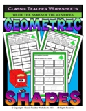 3D Shapes - Write the Names of the 3D Shapes - Grades 3-4 (3rd-4th Grade)