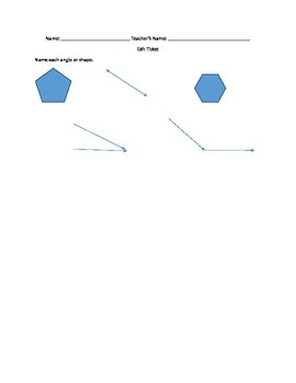 Shapes and Angles Exit Ticket