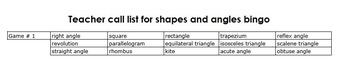 Shapes and Angles Row Bingo