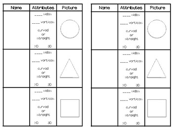 Shapes and Attributes Math Journal