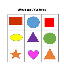 Shapes and Color Bingo