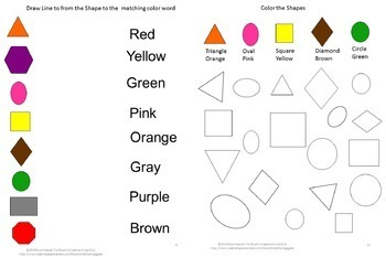 Shapes Matching Color Recognition P-K, K, Autism Activities Special Education
