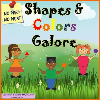 Shapes and Colors Galore Speech Teletherapy NO PREP, NO PRINT