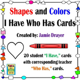 Pre-K Basic Shapes and Color Identification I Have Who Has Cards
