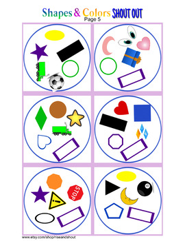 """Shapes & Colors Matching Game Shout Out;  vocabulary. 3"""" & 5"""""""