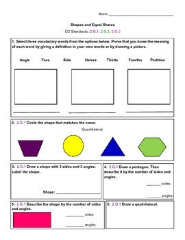 Shapes and Equal Shares Assessment