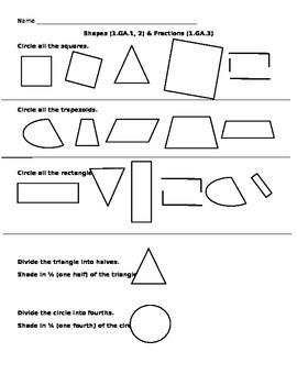 Shapes and Fractions Assessment