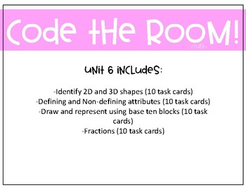 Shapes and Fractions Task Cards (Unit 6) QR Codes
