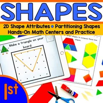 Shapes and Geoboard math station BUNDLE! - First Grade (1.G.1, 1.G.2, 1.G.3)