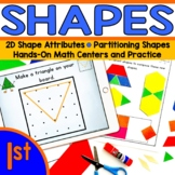Shapes and Geoboard math station BUNDLE! - First Grade (1.G.1, 1.G.2, 1.G.3)