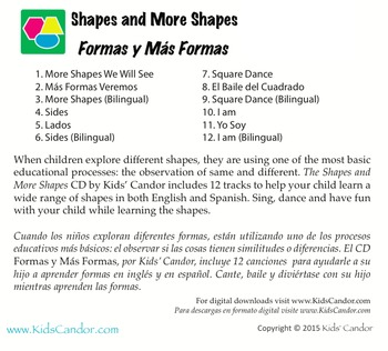 Shapes and More Shapes | Formas y Más Formas CD Bilingual Music