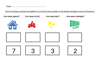 Shapes and Numbers Activity Pre -K