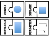 Shapes and Parts of a Circle Puzzle Match