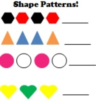 Shapes and  Patterns: worksheets and matching game