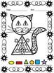 Shapes - Color by number - Cat - Back to School Activity