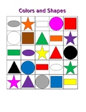 Colors and Shapes in English Bingo