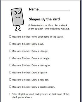 Shapes by the Yard Measurement Activity Checklist