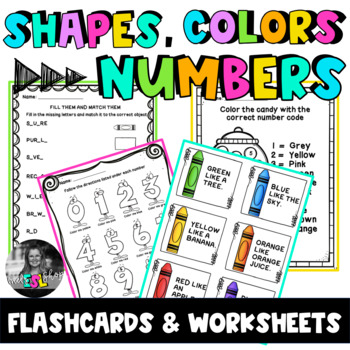 ESL Shapes, Colors & Numbers- Task cards, Worksheets & Activities