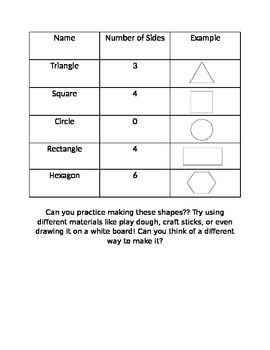 Shapes example sheet
