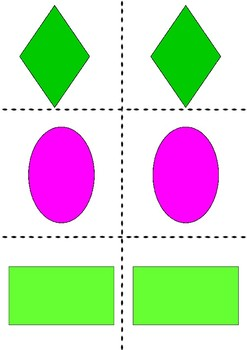 Shapes flashcards matching game colour