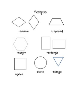Shapes for Math Journal