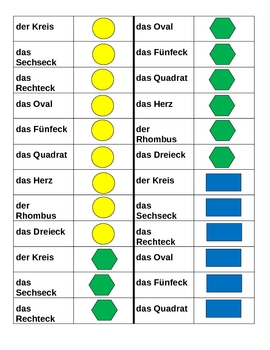 Farben und Formen (Colors and Shapes German) Dominoes