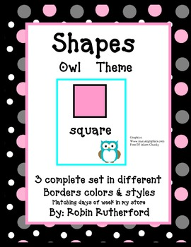 Shapes in Owl theme - 3 complete sets in different patterns and colors