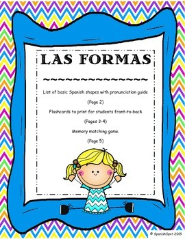 Shapes in Spanish / Las Formas- Vocabulary list, flashcards, & memory game