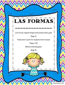 Shapes in Spanish / Las Formas- Vocabulary list, flashcard