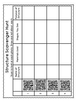 Shapes in Structures - QR  code Activities