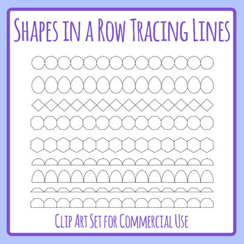 Shapes in a Row Tracing Lines Clip Art Set for Commercial Use
