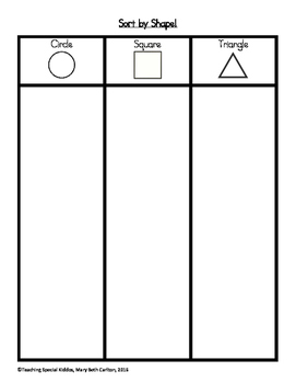 Shapes adapted book/file folder games
