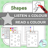 Shapes listen & colour/read & colour for Autism & Special Ed - Aus/UK version