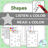 Shapes listen & color/read & color for Autism & Special Education - US version