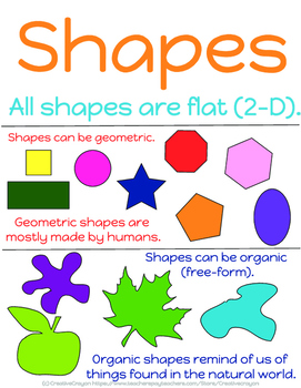 Elements of Art #2 - Shapes coloring page and poster