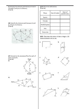 Shapes test (flow, networks, area, composite shapes, volume)