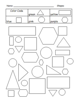 Shapes to Color Worksheet