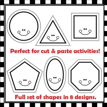 Shapes with Cutting Lines Clip Art for Teachers