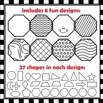 2D Shapes with Cutting Lines | Clip Art for Teachers