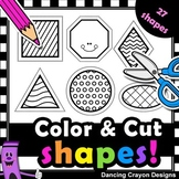 2D Shapes with Cutting Lines | Tracing Lines | Clip Art fo