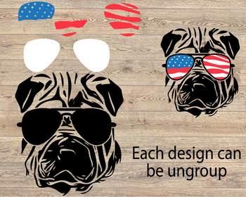 Shar Pei Dog USA Flag Glasses Paw Silhouette SVG 4th July Bulldog puppy 858S