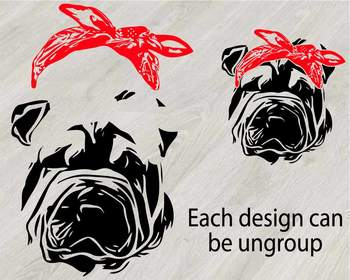 Shar Pei Whit Bandana Silhouette SVG clipart Head face Dog Puppy Family Pet 830S