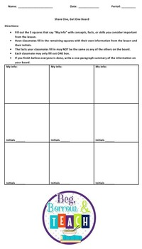 Share One; Get One Blank Board Summary Activity