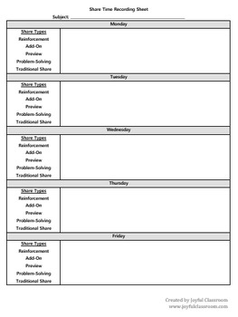 share time recording sheet by the joyful classroom tpt